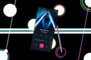 酷黑背景三星智能手机Note 10多角度屏幕预览样机模板 Neon Note 10 MockUp插图3