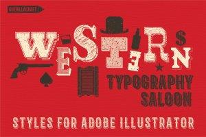 复古西部牛仔电影风格AI图层样式 Western Typography Saloon插图1