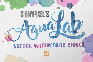 15款高品质水彩纹理和55款水彩飞溅和画笔AI笔刷 AquaLab – Vector Watercolor Effect插图1