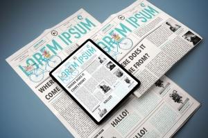 电子版报纸版式设计效果图样机 Newspaper App MockUp插图5