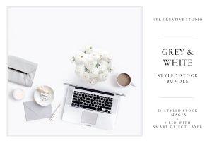 现代简约风格灰白配色场景模板 White & Grey Styled Stock Bundle插图1