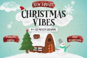 圣诞气氛装饰手绘矢量图案设计素材 Christmas Vibes插图1