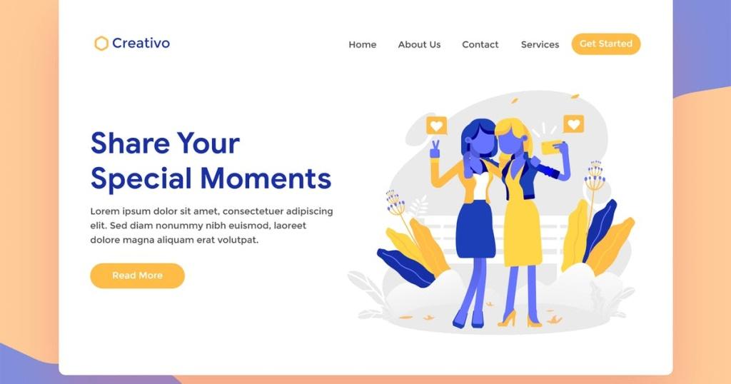 网站着陆页设计自拍场景插画素材 Special Moment Selfie Web Landing Page Illustratio插图