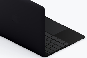 Macbook等距后左视图粘土样机模板 Clay MacBook Mockup, Isometric Back Left View插图2