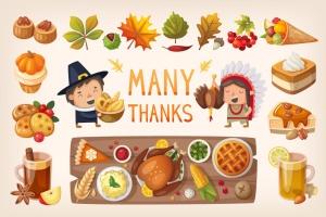 卡通版本感恩节美食矢量设计素材 Thanksgiving Dinner Table插图1