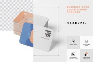 圆角企业名片设计效果图预览样机模板 Business Card Mockup Stack Round Corners插图6