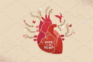 心花怒放的爱情背景  Love background with heart & flowers插图1