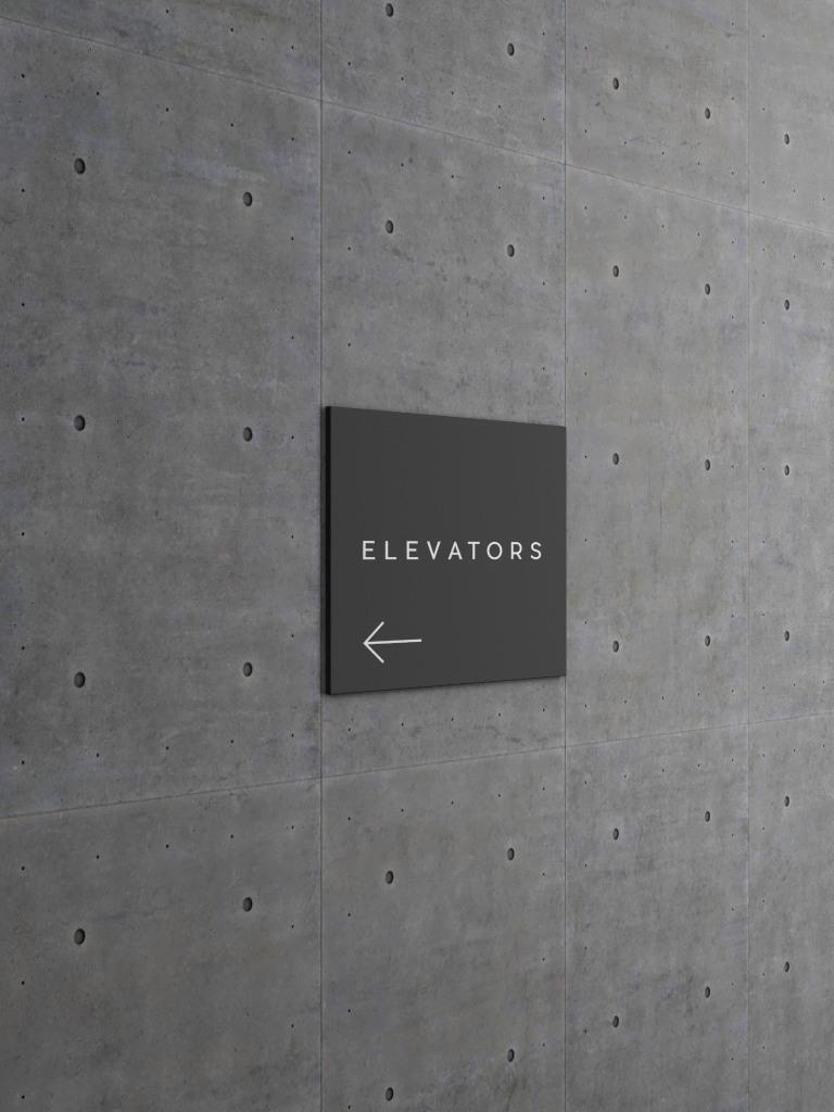 方形墙体指示标志设计效果图样机 Square Wall Sign Mockup插图