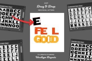 木刻印刷AI字体样式 Drag & Drop WoodType for Illustrator插图5