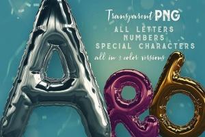 3D金箔气球字体样式PSD分层模板 Foil Balloon – 3D Lettering插图2