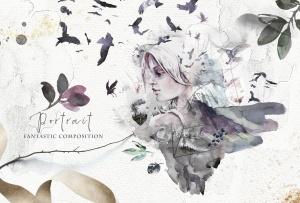 """高品质梦幻水彩矢量插画素材大合集[1.88GB] Fantasy illustrations """"Once in the dream""""插图12"""