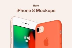 APP UI设计展示iPhone 8样机模板 HERO Phone 8 Mockups插图1