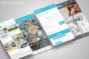 手机APP应用界面设计展示样机模板 Mobile Application Showcase Mockup插图3