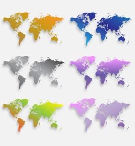 40种设计风格世界地图矢量图形设计素材下载 Map of the world 40 Version插图8
