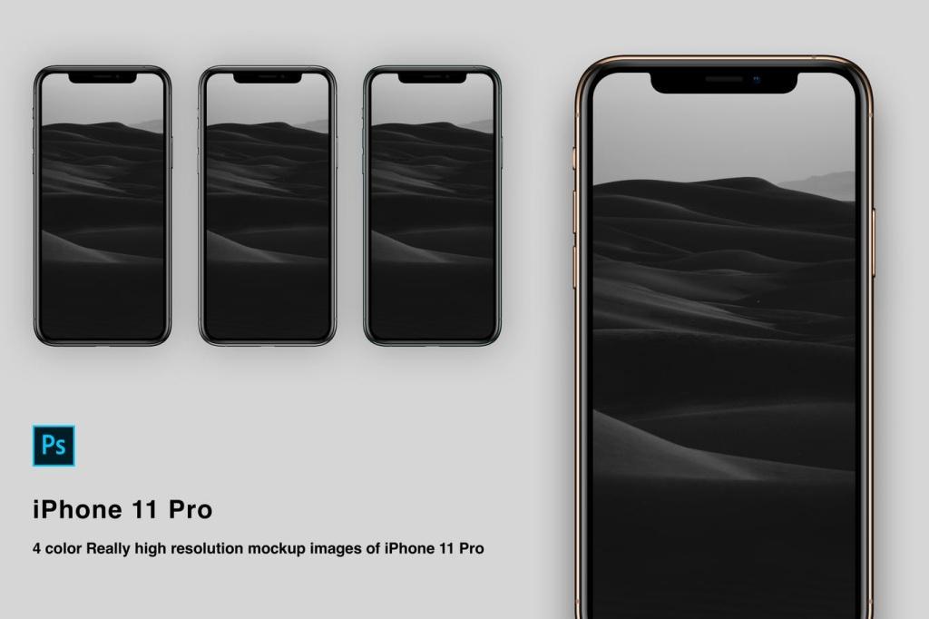 高分辨率逼真四色iPhone 11 Pro手机样机PSD模板 High Resolution Mockup for iPhone 11 pro插图