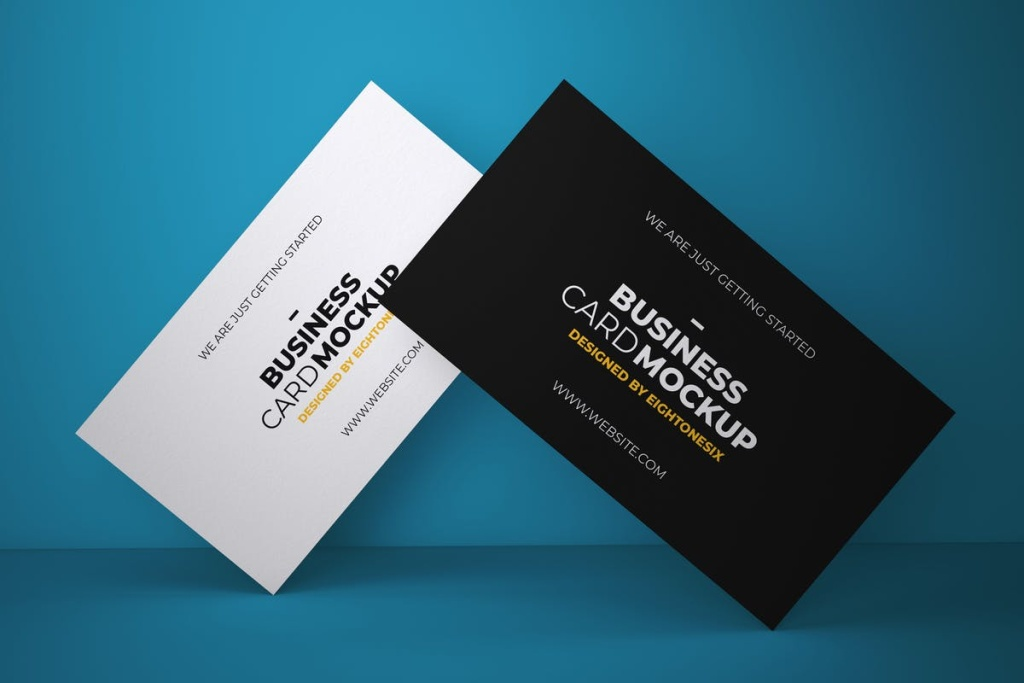 企业/个人名片设计PSD样机模板 Business Card Mock-Up Template插图