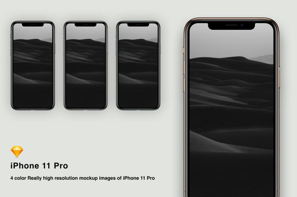 逼真四色iPhone 11 Pro手机样机Sketch模板 Sketch mockup iPhone 11 pro插图