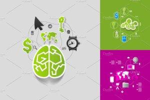 9个商业信息图形贴纸矢量图 9 business sticker infographics插图1