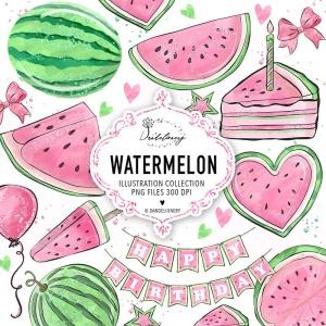 粉色西瓜瓣水彩剪贴画PNG素材 Watercolor Pink Watermelon Clipart插图4