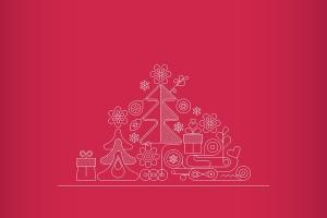 圣诞树线条艺术矢量插画素材 6 options of a Christmas Background插图1