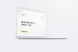 15寸MacBook Pro苹果笔记本电脑屏幕设计效果图预览前左视图样机02 Clay MacBook Pro 15″ with Touch Bar, Front Left View Mockup 02插图1
