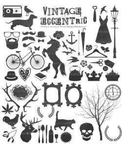 复古怪诞时尚设计矢量素材包 Vintage Eccentric Designers Toolkit插图2