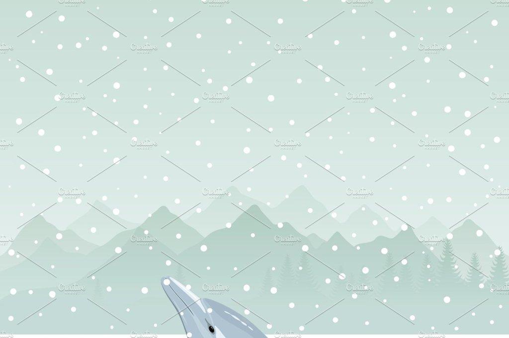 雪天冰洞里的海豚矢量图 Dolphin in an ice-hole插图