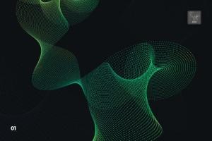 抽象虚线波浪漩涡图案Photoshop笔刷 Dotted Wavy Swirls Photoshop Brushes插图2