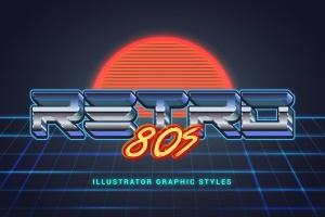 80年代复古插画风格PS字体样式 for AI 80s Retro Illustrator Styles插图1