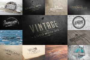 复古Logo墙体展示样机模板合集 Logo Mock-ups Vol.1插图1