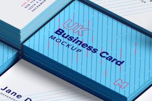 UK标准规格企业&工作室名片排版设计效果图样机01 UK Business Cards Mockup 01插图1