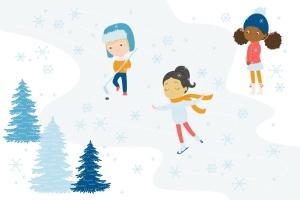 冬天儿童乐园矢量插画设计素材 Winter Fun Vector Graphic Set插图(3)