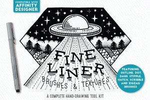 素描线条纹理&AI笔刷 Fine Liner – Affinity Brushes插图(1)