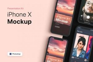APP界面设计截图预览iPhone 8手机样机模板v2 Presentation Kit – iPhone showcase Mockup插图2