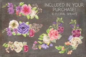 水彩手绘夏季混合花卉字母剪贴画PNG素材 Floral Alphabet: Mixed Summer Blooms插图5