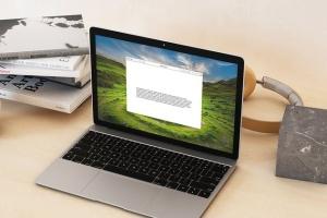 超级本笔记本电脑网页设计展示样机模板 Laptop Mock-up – Interior Set插图6