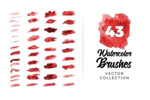 44款现代水彩矢量AI笔刷套装 Vector Watercolor Brushes for Illustrator插图2
