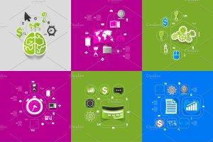9个商业信息图形贴纸矢量图 9 business sticker infographics插图4