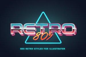 80年代复古文本图层样式 80s Retro Illustrator Styles插图8