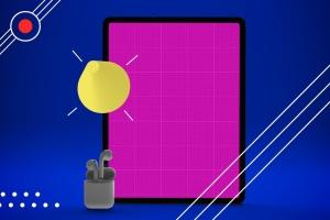 抽象设计风格iPad Pro平板电脑APP设计屏幕预览样机 Abstract iPad Pro Music App插图9