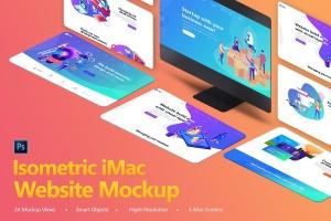 设计师必备等距iMac电脑网页设计展示样机套装 Isometric iMas Website Mockup插图1