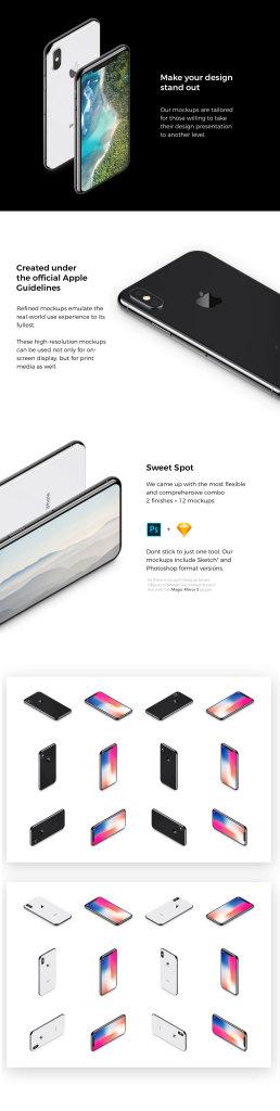 一流设计素材网下午茶:有质感的多角度iPhone X样机模型[sketch,PSD]插图