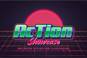 80年代复古插画风格PS字体样式 for AI 80s Retro Illustrator Styles插图6