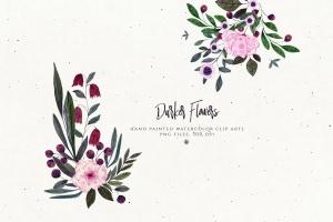 暗色手绘水彩花卉剪贴画PNG素材 Darker Flowers插图4