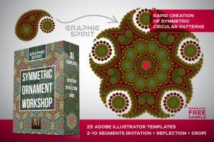 曼陀罗装饰元素AI图层模板 Ai Mandala Ornament Templates插图1