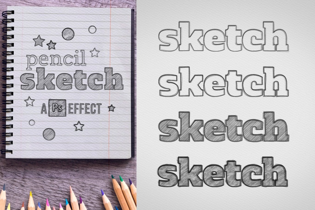 多种铅笔素描文字图形效果PSD模板 Pencil Sketch Effect插图