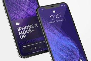 iPhone X手机应用UI界面预览样机01 iPhone X Mockup 01插图1