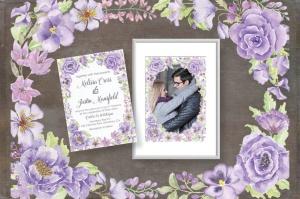 紫色水彩手绘花卉图案剪贴画PNG素材套装 Purple Passion: Watercolor Clip Art Bundle插图4