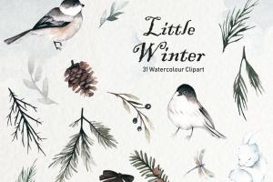 冬季元素水彩手绘剪贴画PNG素材 Winter Watercolor Collection插图5
