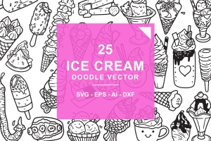 25款冰淇淋涂鸦手绘图案设计素材 Ice Cream Doodle Vector插图(1)